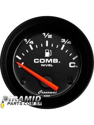 Indicador de Nível de Combustível Cromado Street Preto 52mm