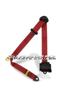 Cinto Retrátil 3 Pontos para Carros Turbo ou Aspirado Vermelho