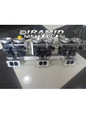 Kit Coletor para Opala 6cc com TBI Corpo Estilo Weber para 6 Bicos Injeção Eletrônica