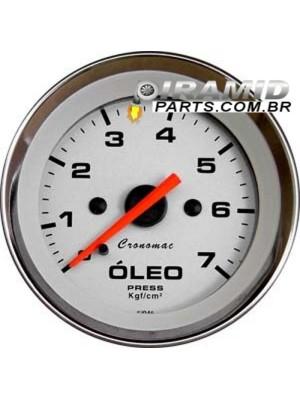 Manômetro de Óleo 7 kg Cromado Branco 52mm