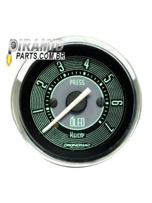 Manômetro Pressão de Óleo Mecânico 7kg 52mm Linha Retro Verde para Fusca