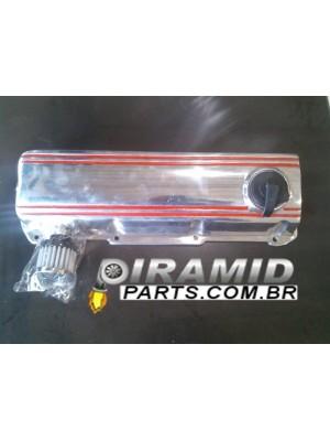 Kit Tampa de Válvulas em Alumínio Polida com Filtro Respiro e Tampa do Óleo para Motor VW AP Turbo ou Aspirado